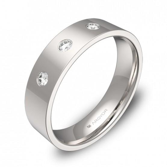 Alianza de boda en oro blanco pulido con diamantes B0150P3BB
