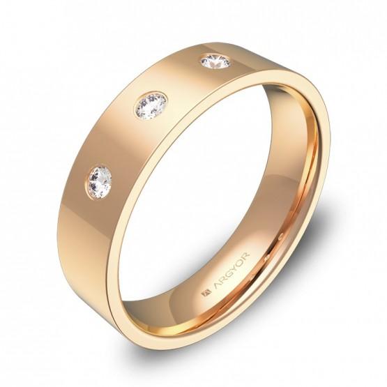 Alianza de boda  5,0mm oro rosa pulido con diamantes B0150P3BR