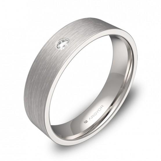 Alianza de boda 5mm en oro blanco satinado con diamante B0150S1BB