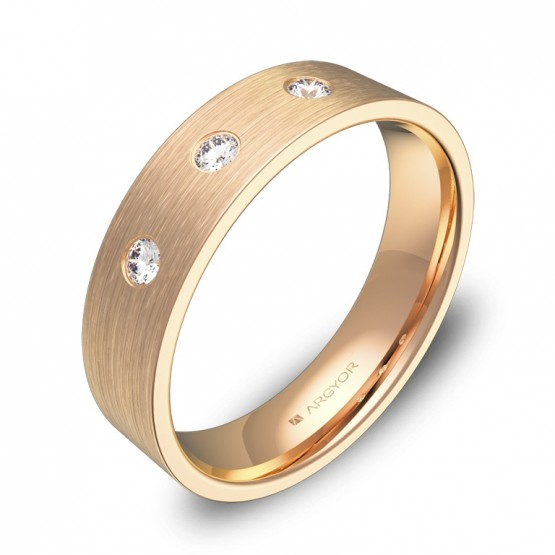 Alianza de boda oro rosa plana gruesa con diamantes B0150S3BR