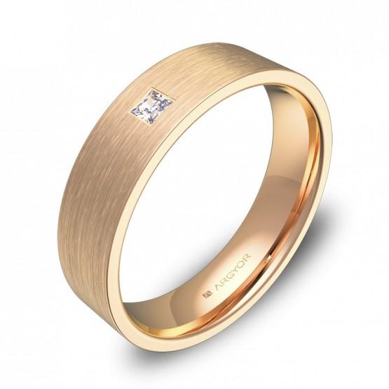 Alianza de boda 5,0mm en oro rosa satinado con diamante B0150S1PR