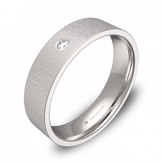 Alianza de boda oro blanco rayado con diamante B0150T1BB
