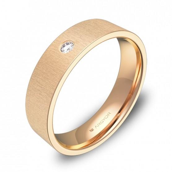 Alianza de boda oro rosa 5,0mm rayada con diamante B0150T1BR