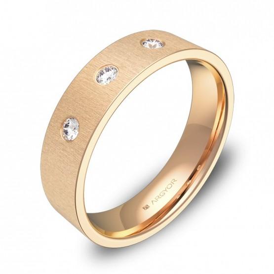 Alianza de boda oro rosa plana gruesa con diamantes B0150T3BR