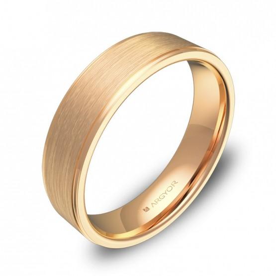 Alianza de boda plana con biseles 5mm en oro rosa combinado C0150C00R