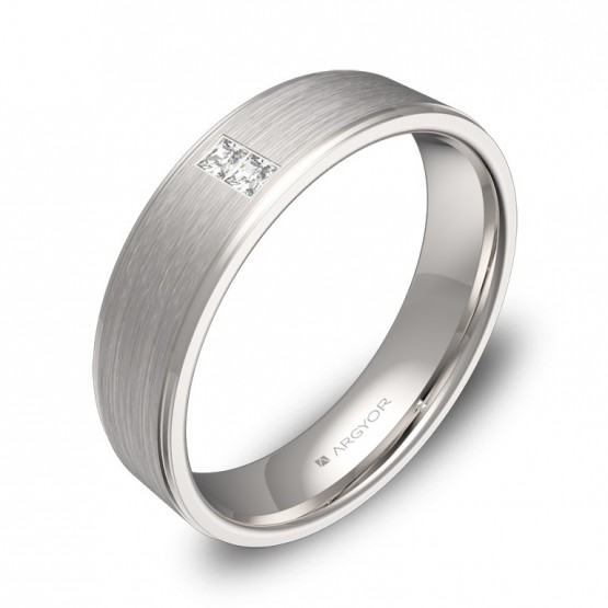 Alianza de boda con biseles 5,0mm oro blanco con diamantes C0150C2PB