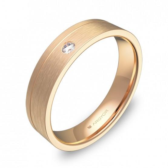 Alianza de boda plana con ranuras en oro rosa con diamante C0245S1BR