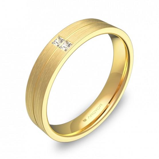 Alianza de boda 4mm en oro amarillo satinado con diamantes C0340S2PA