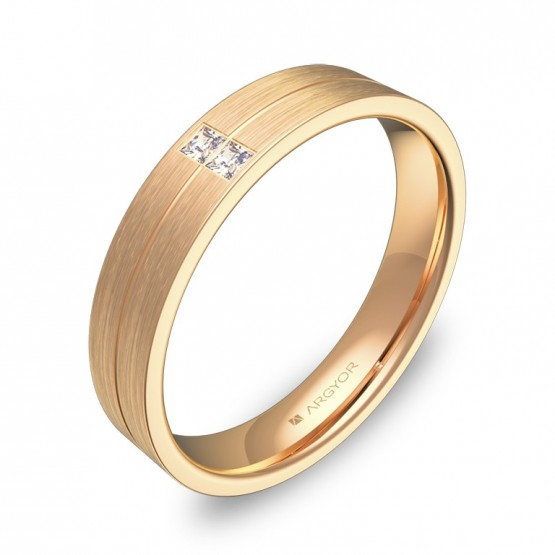 Alianza de boda de oro rosa acabado satinado con diamantes C0340S2PR
