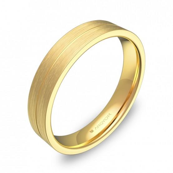 Alianza de boda plana con ranuras 4mm oro amarillo satinado C0340S00A