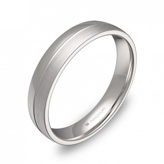 Alianza de boda de media caña con ranuras 4mm en oro blanco C0540C00B