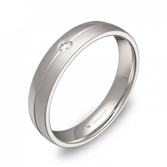 Alianza de boda media caña con ranuras oro blanco 1 diamante C0540C1BB