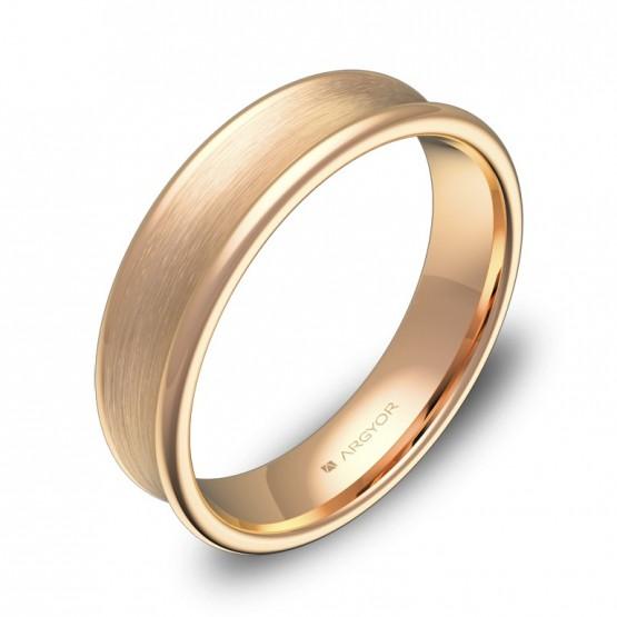 Alianza de boda cóncava 5mm en oro rosa combinado C0750C00R