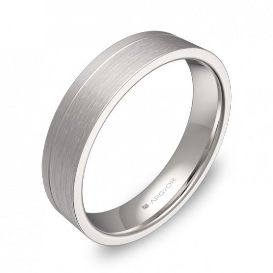 Alianza de boda plana con ranuras 4,5mm en oro blanco C0245S00B