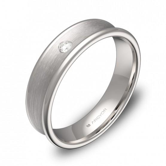 Alianza de boda cóncava en oro blanco combinado con diamante C0750C1BB