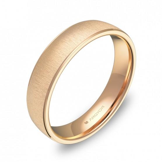 Alianza de boda con biseles 4,5mm en oro rosa textura C0645T00R