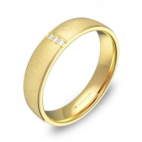 Alianza de boda en oro amarillo texturizado 3 diamantes C0645T3BA