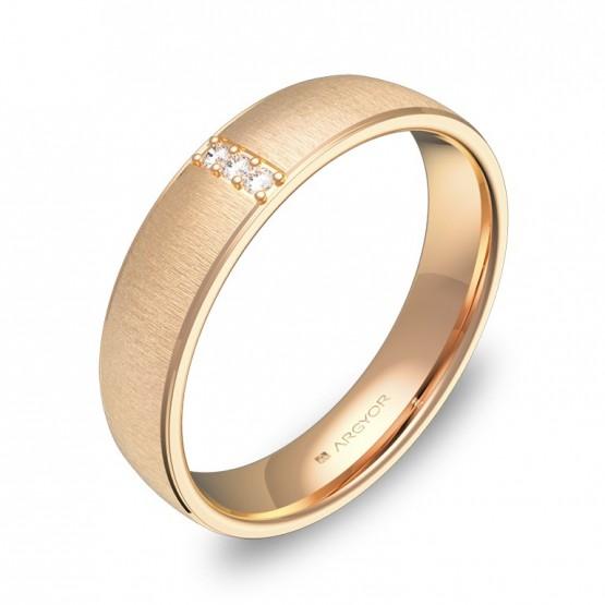Alianza de boda 4,5mm en oro rosa textura con diamantes C0645T3BR