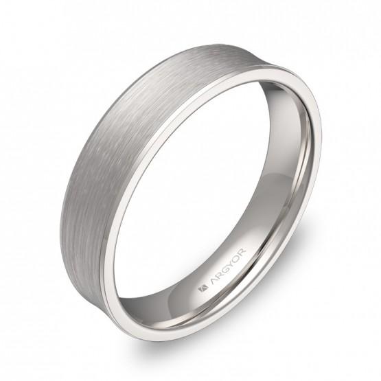 Alianza de boda de oro blanco cóncava  C1145S00B