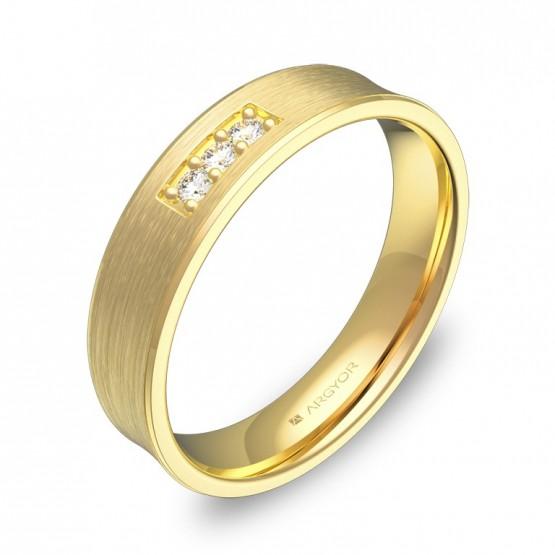 Alianza de boda cóncava de oro amarillo con diamantes C1145S3BA