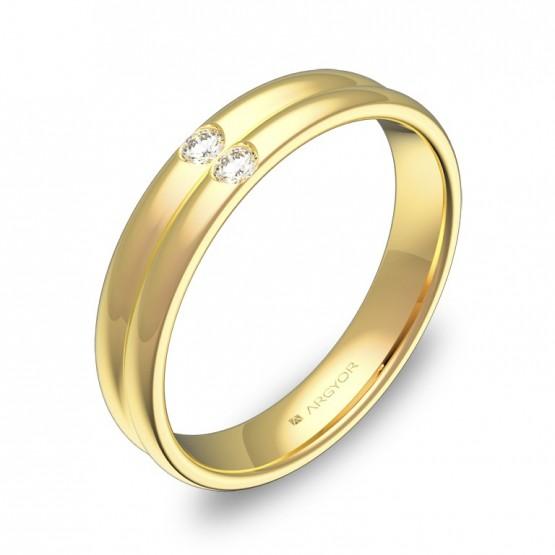 Alianza de boda oro amarillo doble media caña con diamantes C0940P2BA