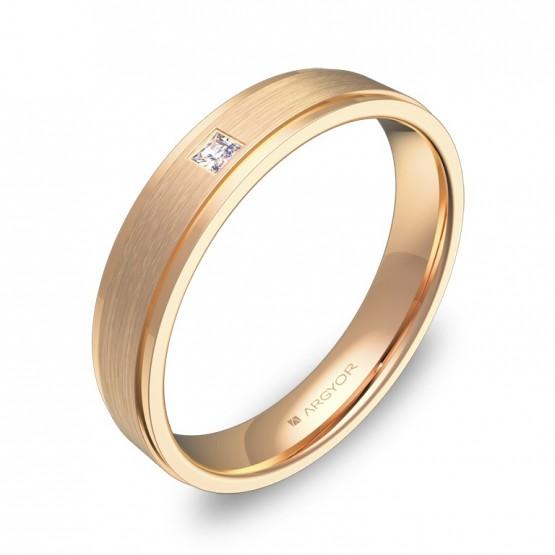 Alianza de boda plana con biseles en oro rosa con diamante C1040C1PR