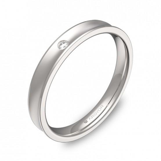 Alianza de boda de oro blanco cóncava 3mm con diamante C1330C1BB