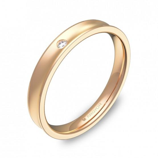 Alianza de boda cóncava oro rosa con diamante C1330C1BR