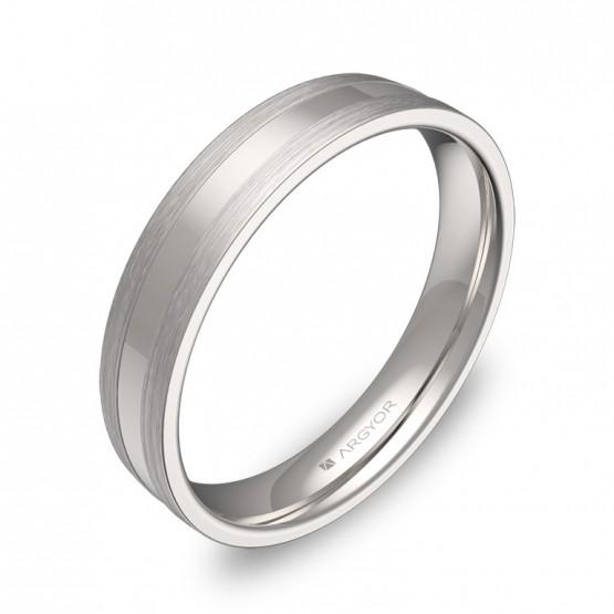 Alianza de boda plana con ranuras en oro blanco combinado C1540C00B