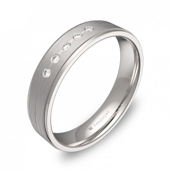 Alianza de boda  en oro blanco combinado con diamantes C1245C5BB