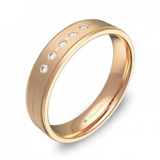 Alianza de boda con ranuras y biseles oro rosa 5 diamantes C1245C5BR