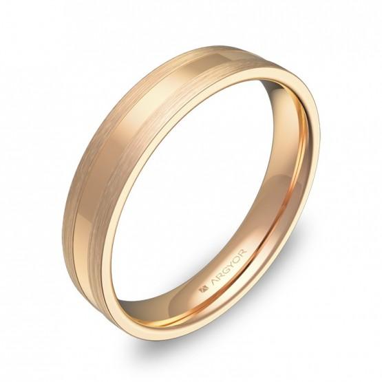Alianza de boda plana con ranuras 4mm en oro rosa combinado C1540C00R