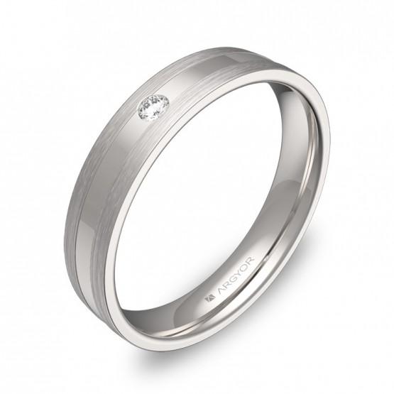 Alianza de boda plana con ranuras en oro blanco con diamante C1540C1BB