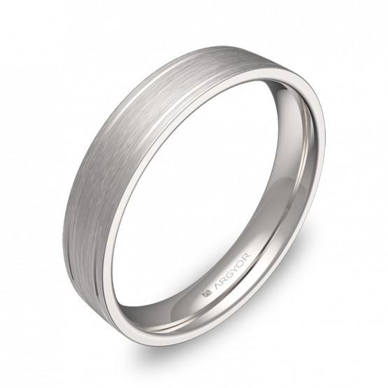 Alianza de boda plana con ranuras 4mm en oro blanco satinado C1640S00B