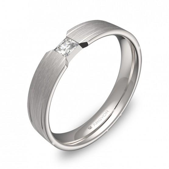 Alianza de boda plana con ranuras oro blanco con diamante C1640S1PB