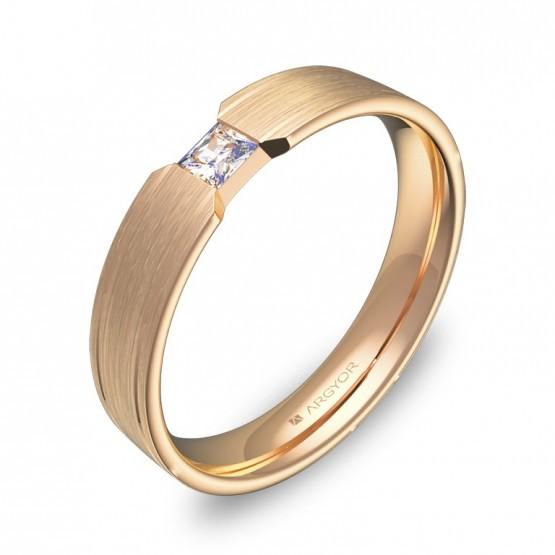 Alianza de boda plana con ranuras en oro rosa con diamante C1640S1PR