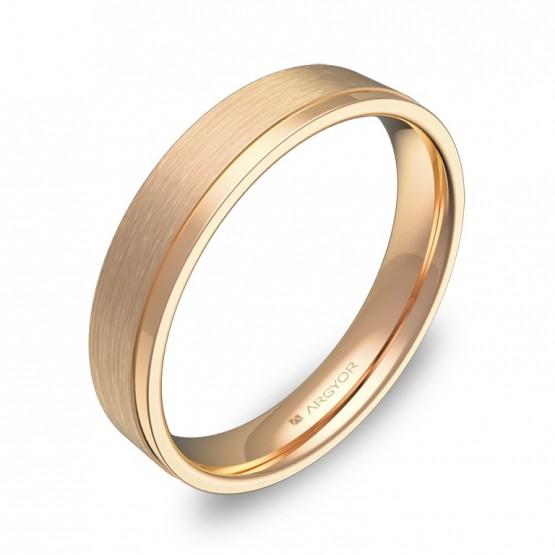 Alianza de boda plana con ranuras 4mm en oro rosa combinado C1440C00R