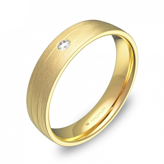 Alianza de boda 4,5mm en oro satinado con diamante C1745S1BA