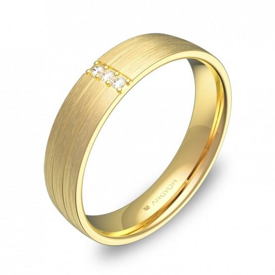 Alianza de boda de media caña con ranuras en oro 3 diamantes C1745S3BA