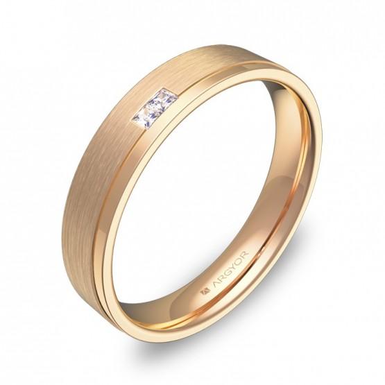 Alianza de boda con ranuras oro rosa combinado 2 diamantes C1440C2PR