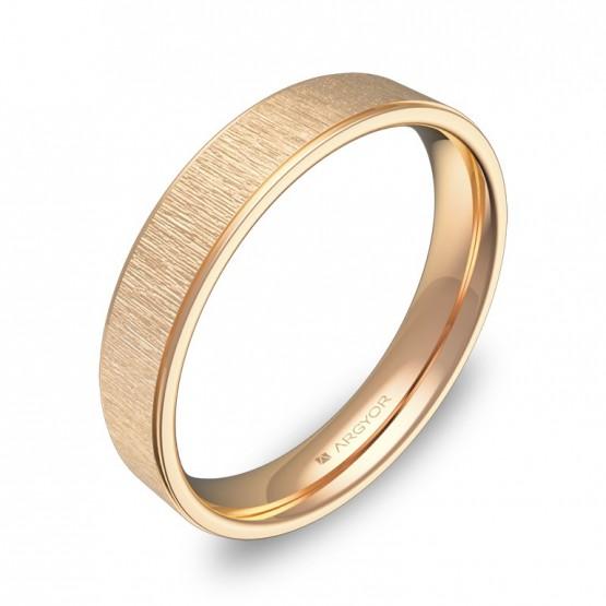 Alianza de boda plana con biseles 4mm en oro rosa combinado C1840C00R