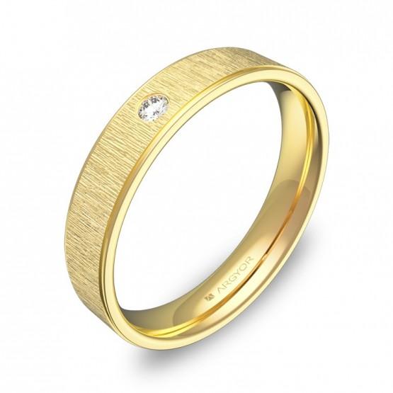 Alianza de boda plana con biseles oro combinado 1 diamante C1840C1BA