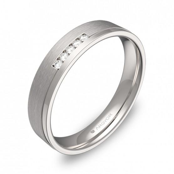 Alianza de boda con ranuras 4mm en oro blanco con diamantes C1440C5BB
