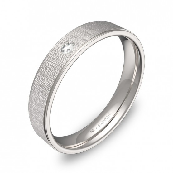 Alianza de boda plana con biseles oro blanco con diamante C1840C1BB