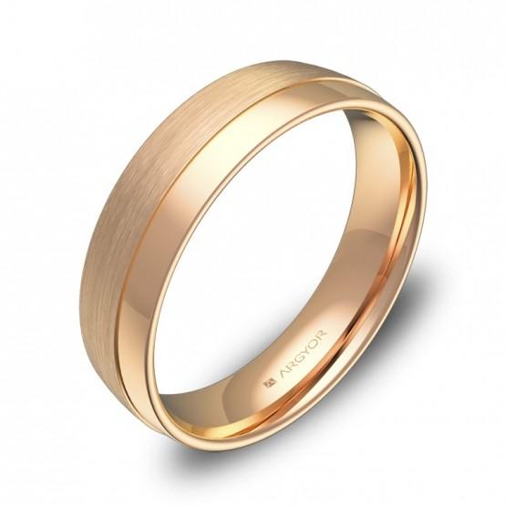 Alianza de boda de media caña con ranuras 5mm en oro rosa C2050C00R