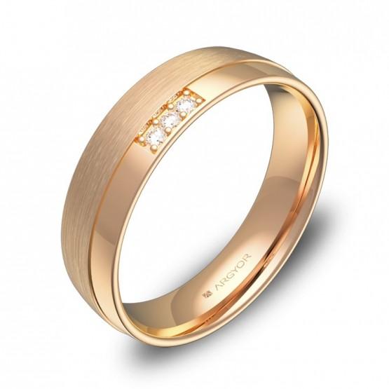 Alianza de boda oro rosa combinado con 3 diamantes C2050C3BR