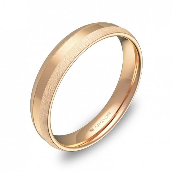 Alianza de boda con ranuras 4mm en oro rosa combinado C2240C00R