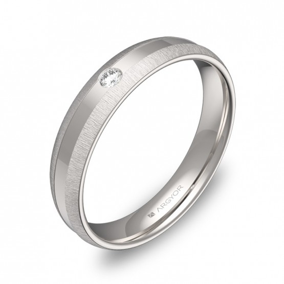 Alianza de boda con ranuras 4mm en oro blanco con diamante C2240C1BB