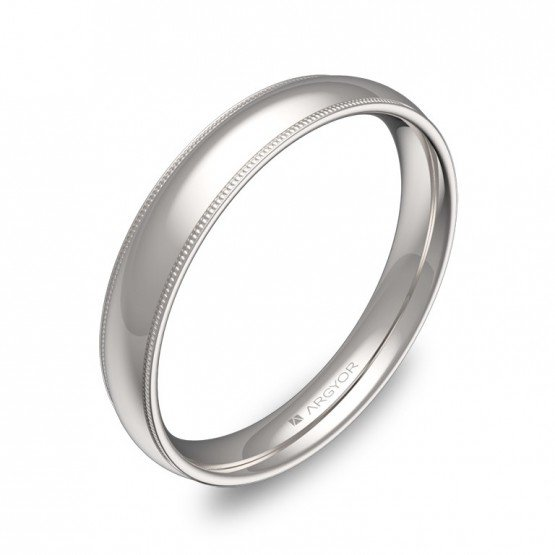Alianza de boda 3,5mm con biseles y en oro blanco pulido C2335P00B