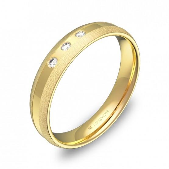 Alianza de boda oro amarillo combinado con 3 diamantes C2240C3BA